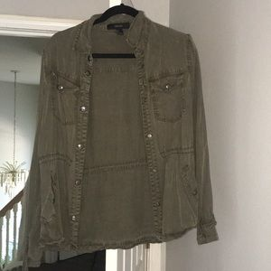Green button up jacket